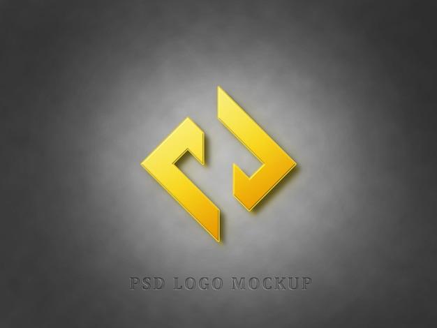Maquete do logotipo 3d no fundo da textura da parede