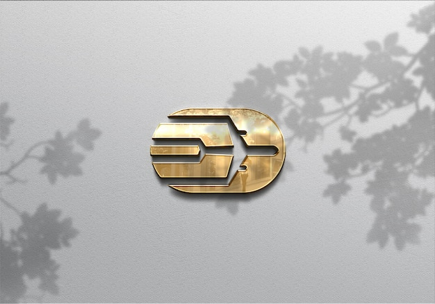 Maquete do logotipo 3d realista na parede