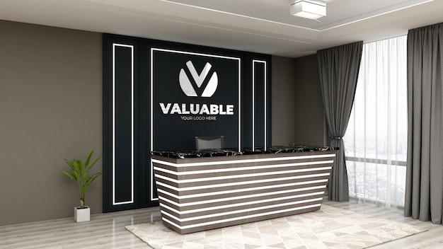 Maquete do logotipo 3d realista na recepcionista do escritório ou na recepção com design de interiores luxuoso