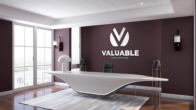 Maquete do logotipo 3d realista na recepcionista ou na recepção do escritório