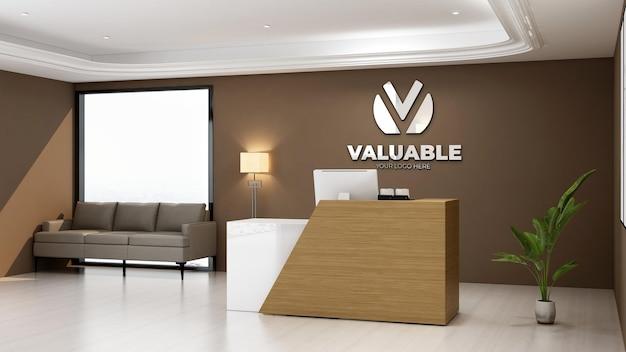 Maquete do logotipo 3d realista na sala da recepcionista do escritório