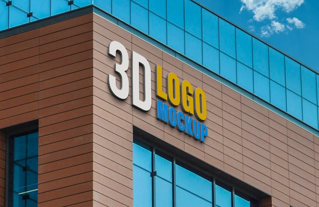 Maquete do logotipo 3d sinal de construção, construção de parede de tijolo maquete do logotipo 3d
