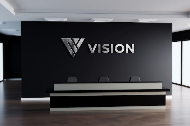 Maquete do logotipo 3d sinal realista office black wall