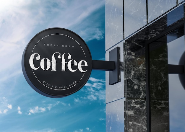 Maquete do logotipo circular com placa preta na fachada do prédio