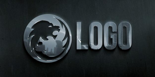 Maquete do logotipo com efeito de estilo metal