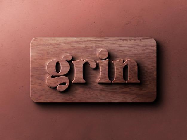 Maquete do logotipo com efeito de relevo em madeira