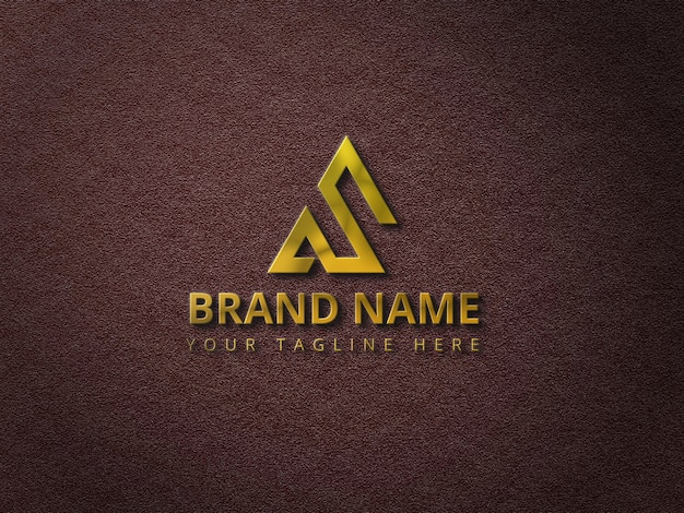 Maquete do logotipo com logotipo 3d dourado