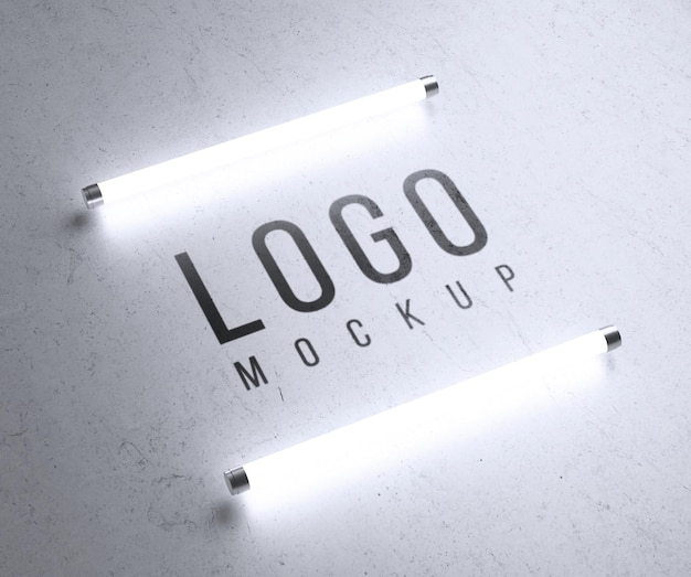Maquete do logotipo com luzes