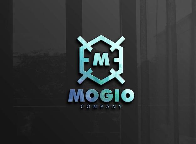Maquete do logotipo com reflexo azul