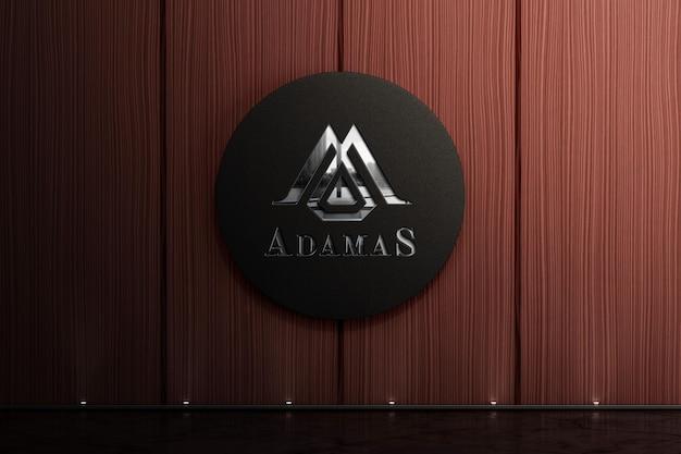 Maquete do logotipo corporativo na parede de madeira