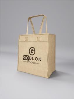 Maquete do logotipo da bolsa quadrada de pano