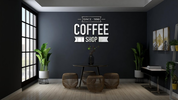 Maquete do logotipo da cafeteria em uma mesa e cadeira modernas