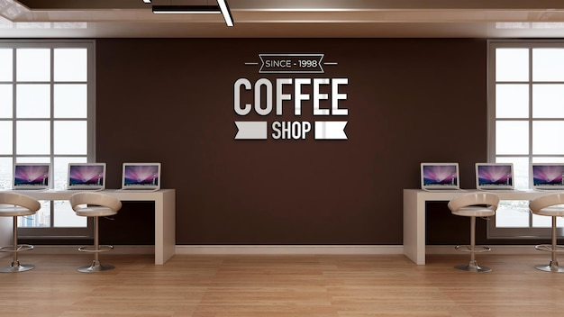 Maquete do logotipo da cafeteria na sinalização da parede do café com mesa para laptop e tema de espaço de trabalho
