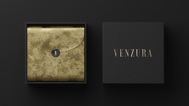 Maquete do logotipo da caixa de correio em ouro preto para renderização em 3d da identidade da marca