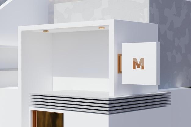 Maquete do logotipo da caixa de sinalização retangular na fachada do prédio da loja de escritórios