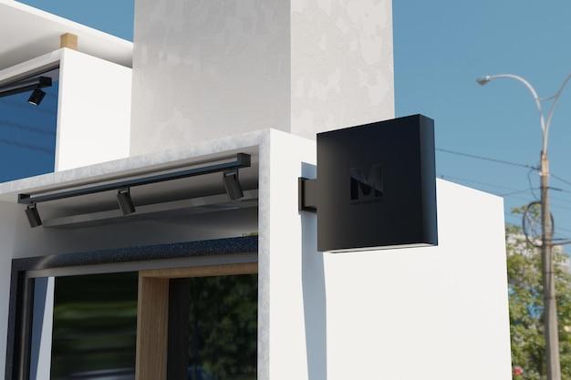 Maquete do logotipo da caixa de sinalização retangular na fachada do prédio da loja