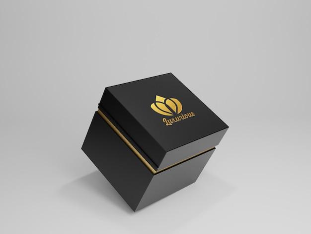 Maquete do logotipo da caixa escura de luxo com fundo cinza limpo