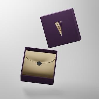 Maquete do logotipo da caixa roxa para apresentação da identidade da marca renderização em 3d