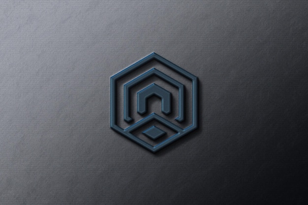Maquete do logotipo da empresa em papel preto