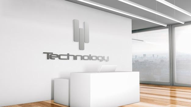 Maquete do logotipo da empresa em uma recepção do escritório