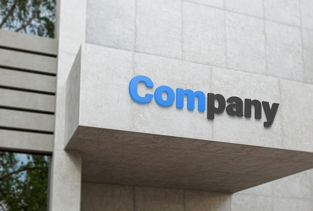 Maquete do logotipo da empresa na fachada de concreto