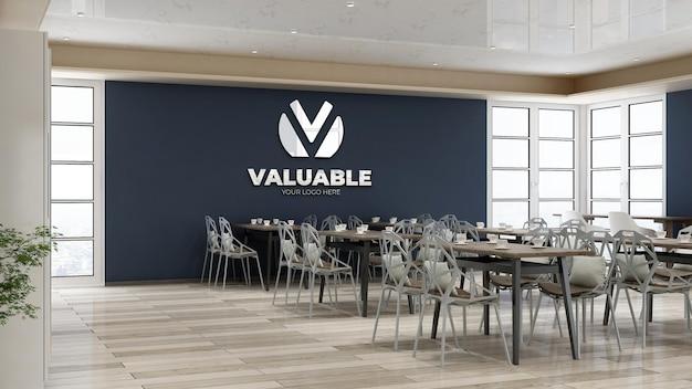 Maquete do logotipo da empresa no moderno restaurante ou despensa do escritório
