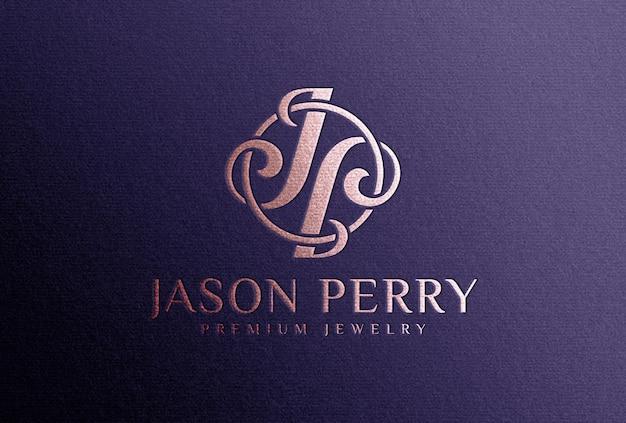 Maquete do logotipo da folha de ouro rosa