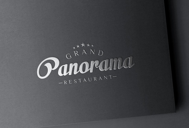 Maquete do logotipo da folha de prata em papel preto