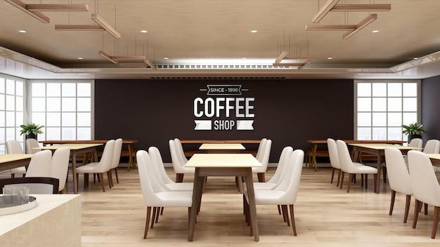 Maquete do logotipo da parede 3d em restaurante ou cafeteria com design de interiores de madeira
