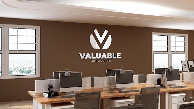 Maquete do logotipo da parede 3d em um espaço de trabalho de escritório moderno com parede marrom