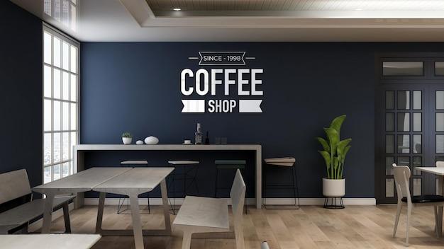 Maquete do logotipo da parede 3d em um restaurante de café