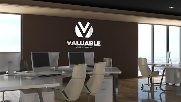 Maquete do logotipo da parede 3d na sala de negócios do escritório, local de trabalho
