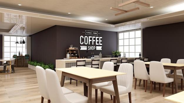 Maquete do logotipo da parede 3d no interior moderno do café