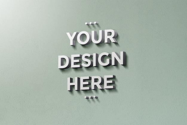 Maquete do logotipo da parede 3d