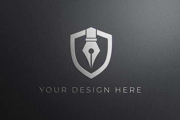 Maquete do logotipo da parede branca em relevo