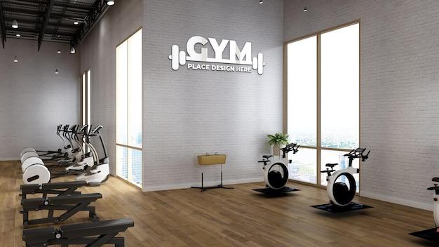 Maquete do logotipo da parede da academia na sala de ginástica