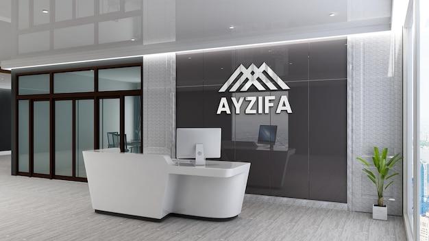 Maquete do logotipo da parede da sala de espera do lobby do escritório de luxo