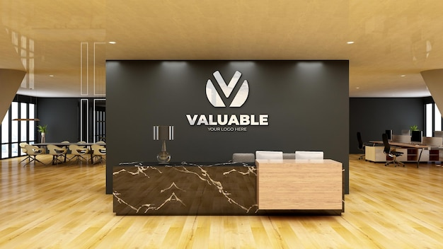 Maquete do logotipo da parede da sala de espera do saguão do escritório moderno