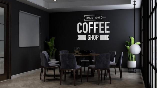 Maquete do logotipo da parede do café na sala de reuniões do café ou restaurante