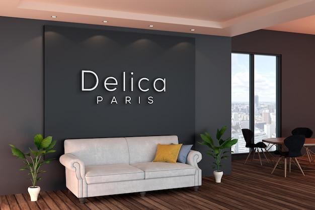 Maquete do logotipo da parede do escritório com interior preto moderno Psd Premium