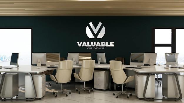 Maquete do logotipo da parede do espaço de trabalho da sala de escritório