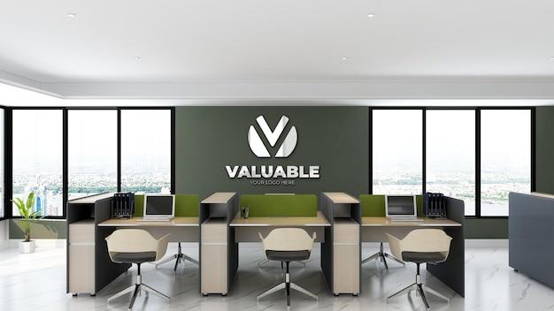 Maquete do logotipo da parede do espaço de trabalho do escritório