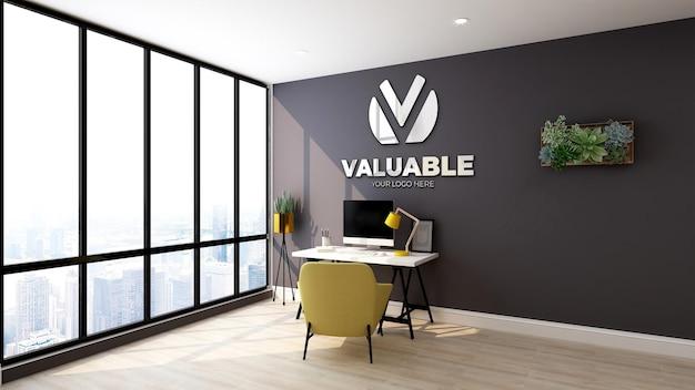 Maquete do logotipo da parede do quarto do gerente de escritório