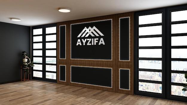 Maquete do logotipo da parede em branco em um elegante escritório de madeira