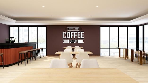 Maquete do logotipo da parede em um café ou restaurante