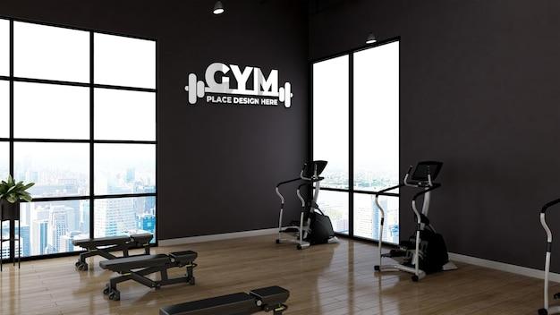 Maquete do logotipo da parede interior do ginásio moderno