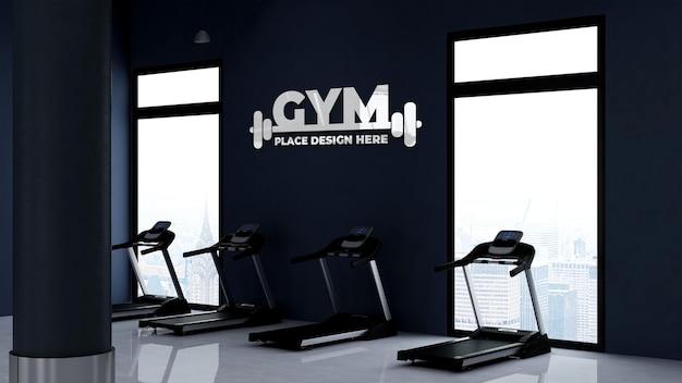 Maquete do logotipo da parede na academia ou sala de esportes