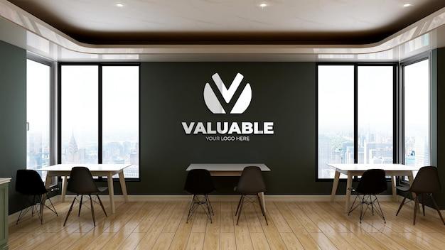 Maquete do logotipo da parede na copa do escritório