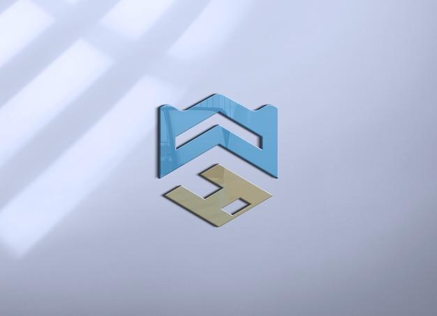 Maquete do logotipo da parede na parede com sombra