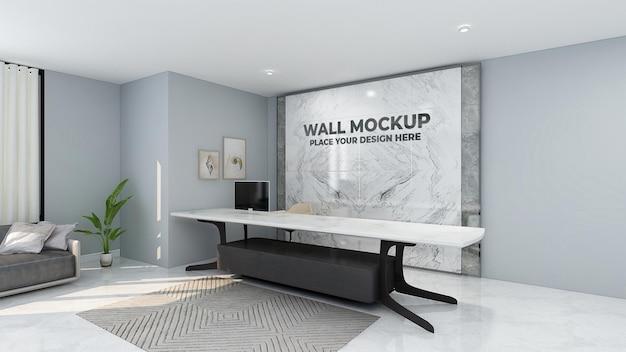 Maquete do logotipo da parede na sala de espera do escritório
